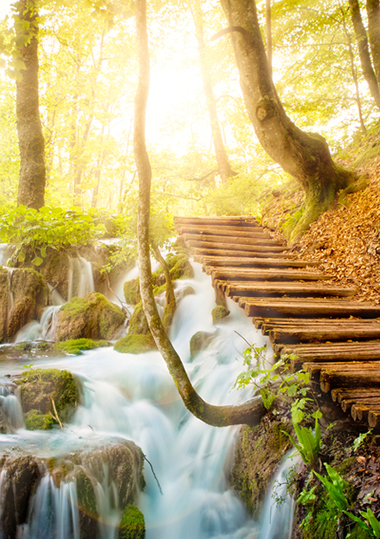 Wooden path over waterfall